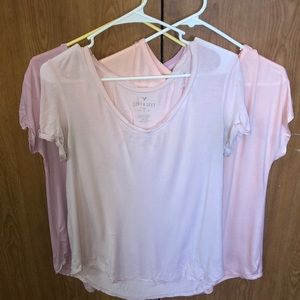 3 Size small pink cozy T shirts